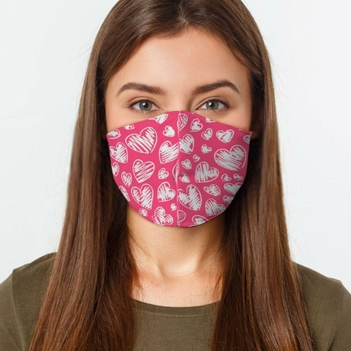 pink hearts face mask